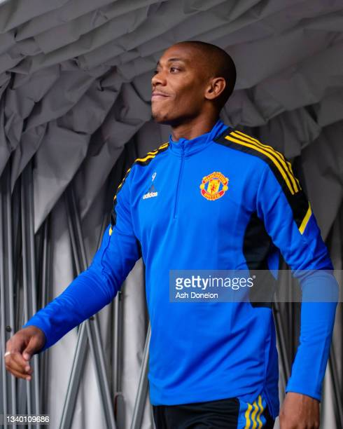 Anthony Martial of Manchester United arrives ahead of a first team training session at Stadion Wankdorf on September 13, 2021 in Bern, Switzerland.