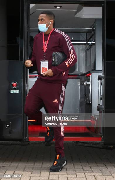 Anthony Martial of Manchester United arrives ahead of the Emirates FA Cup Quarter Final match between Leicester City and Manchester United at The...