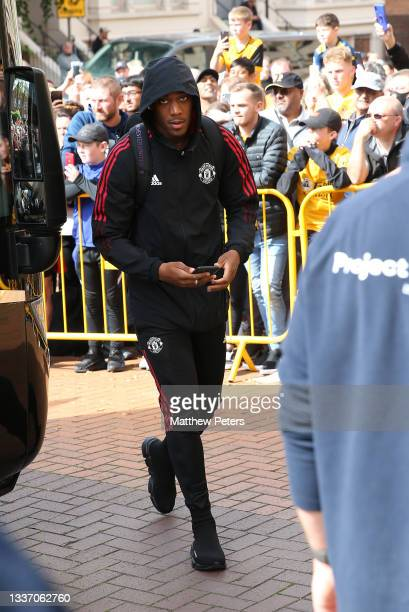 Anthony Martial of Manchester United arrives ahead of the Premier League match between Wolverhampton Wanderers and Manchester United at Molineux on...