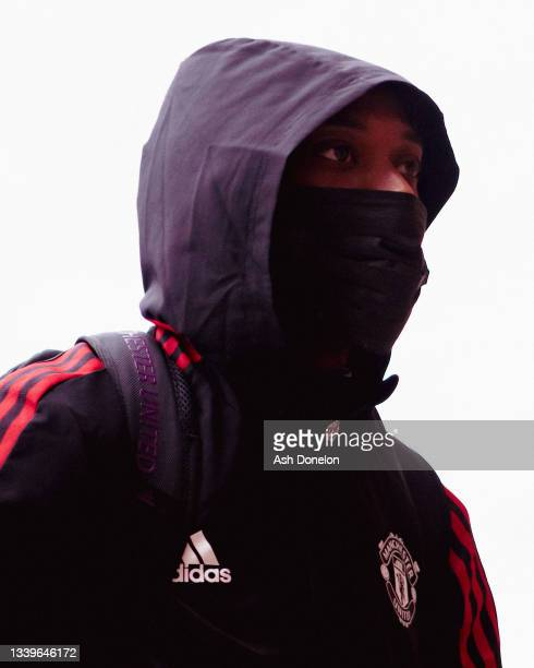 Anthony Martial of Manchester United arrives ahead of the Premier League match between Manchester United and Newcastle United at Old Trafford on...
