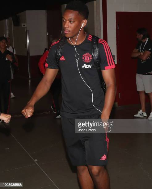 Manchester United fans pose ahead of the preseason friendly match between Manchester United and San Jose Earthquakes at Levi's Stadium on July 22...