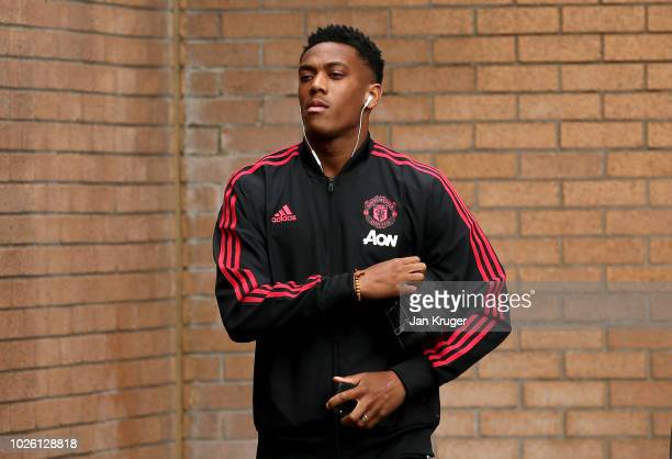 Anthony Martial of Manchester United arrives prior to the Premier League match between Burnley FC and Manchester United at Turf Moor on September 2...
