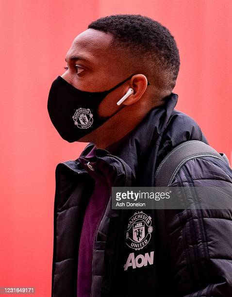 Anthony Martial of Manchester United arrives prior to the UEFA Europa League Round of 16 First Leg match between Manchester United and A.C. Milan at...