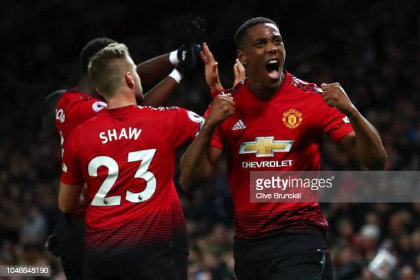 Anthony Martial of Manchester United celebrates after his team's third goal during the Premier League match between Manchester United and Newcastle...