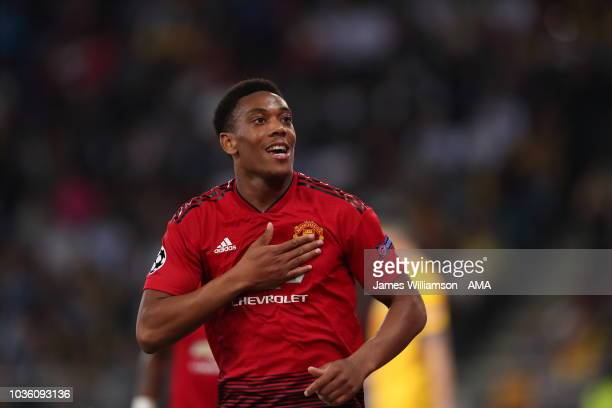 Anthony Martial of Manchester United celebrates after scoring a goal to make it 30 during the Group H match of the UEFA Champions League between BSC...