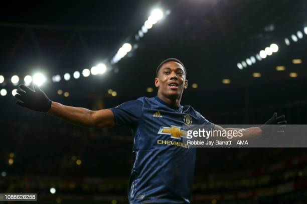 Anthony Martial of Manchester United celebrates after scoring a goal to make it 13 during the FA Cup Fourth Round match between Arsenal and...