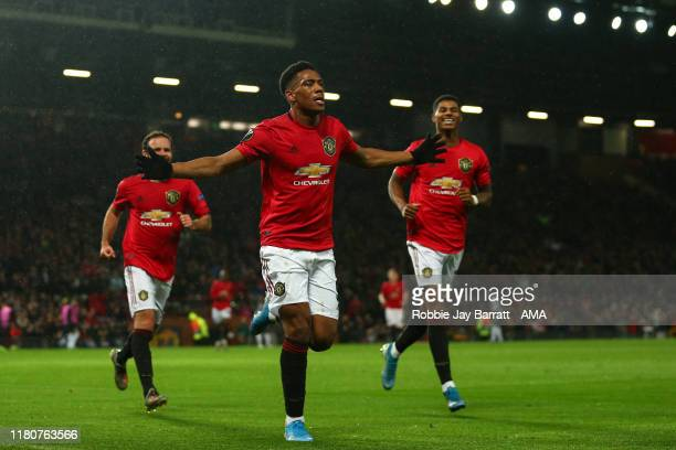 Anthony Martial of Manchester United celebrates after scoring a goal to make it 20 during the UEFA Europa League group L match between Manchester...