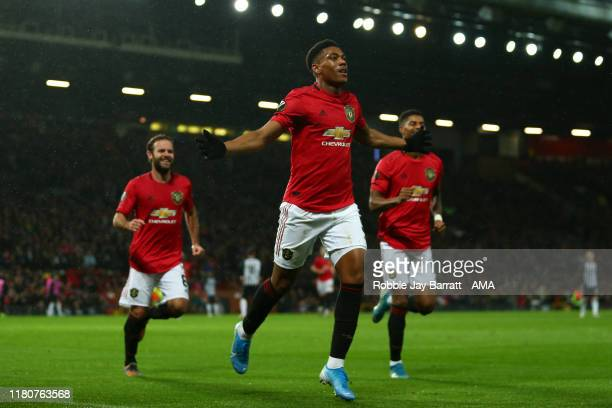 Anthony Martial of Manchester United celebrates after scoring a goal to make it 2-0 during the UEFA Europa League group L match between Manchester...