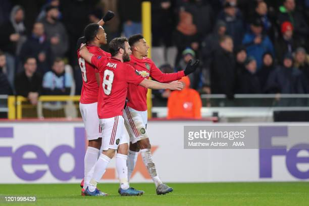 Anthony Martial of Manchester United celebrates after scoring a goal to make it 1-1 during the UEFA Europa League Round of 32 first leg match between...