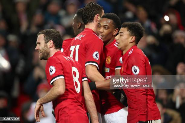 Anthony Martial of Manchester United celebrates after scoring a goal to make it 20 during the Premier League match between Manchester United and...