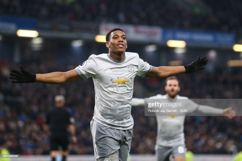 Anthony Martial of Manchester United celebrates after scoring a goal to make it 0-1 during the Premier League match between Burnley and Manchester United at Turf Moor on January 20, 2018 in Burnley, England.