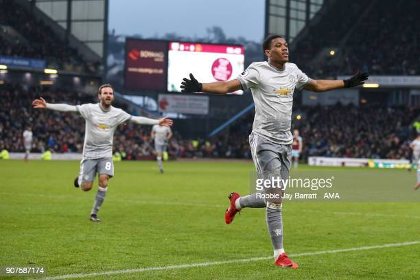 Anthony Martial of Manchester United celebrates after scoring a goal to make it 01 during the Premier League match between Burnley and Manchester...