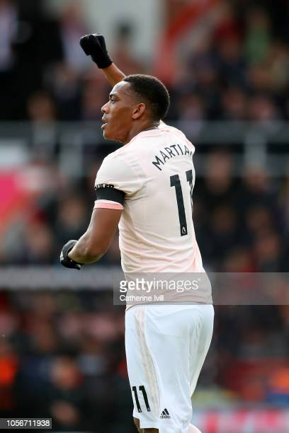 Anthony Martial of Manchester United celebrates after scoring his team's first goal during the Premier League match between AFC Bournemouth and...