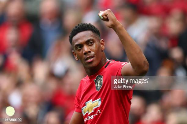 Anthony Martial of Manchester United celebrates after scoring his team's second goal during the Premier League match between Manchester United and...