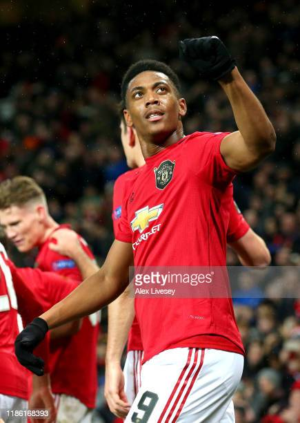 Anthony Martial of Manchester United celebrates after scoring his team's second goal during the UEFA Europa League group L match between Manchester...