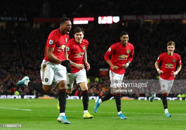 Anthony Martial of Manchester United celebrates after scoring his team's third goal during the Premier League match between Manchester United and...