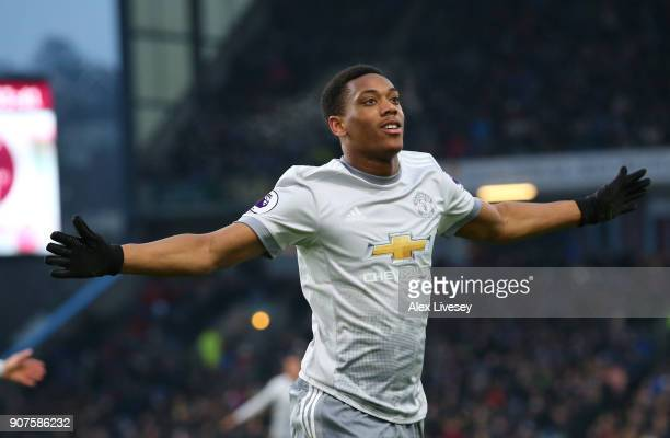 Anthony Martial of Manchester United celebrates after scoring his sides first goal during the Premier League match between Burnley and Manchester...