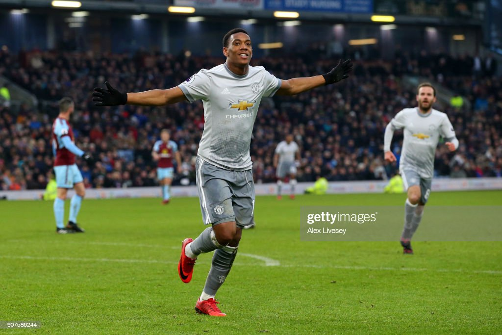 Anthony Martial of Manchester United celebrates after scoring his sides first goal during the Premier League match between Burnley and Manchester United at Turf Moor on January 20, 2018 in Burnley, England.
