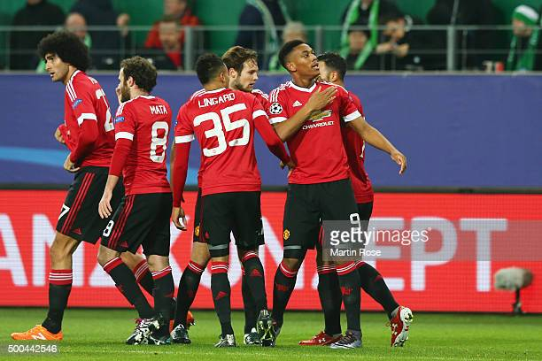 Anthony Martial of Manchester United celebrates after scoring the opening goal during the UEFA Champions League group B match between VfL Wolfsburg...