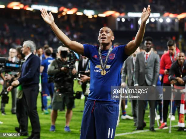 Anthony Martial of Manchester United celebrates after the victory during the UEFA Europa League Final between Ajax and Manchester United at Friends...