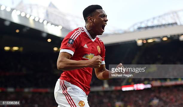 Anthony Martial of Manchester United celebrates as he scores their first and equalising goal during the Emirates FA Cup sixth round match between...
