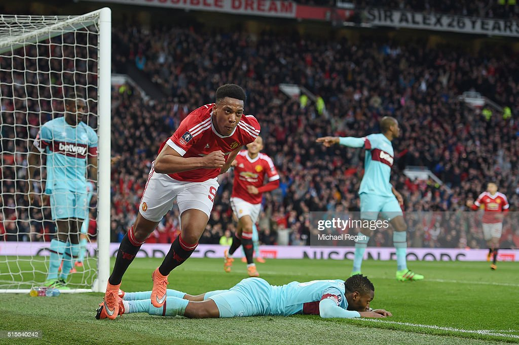 Anthony Martial of Manchester United celebrates as he scores their first and equalising goal during the Emirates FA Cup sixth round match between Manchester United and West Ham United at Old Trafford on March 13, 2016 in Manchester, England.