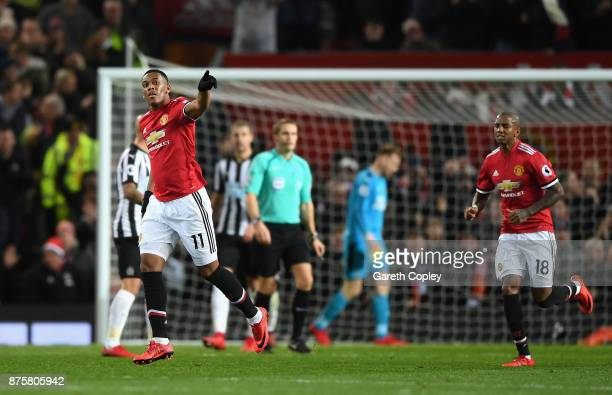 Anthony Martial of Manchester United celebrates scoring his sides first goal during the Premier League match between Manchester United and Newcastle...