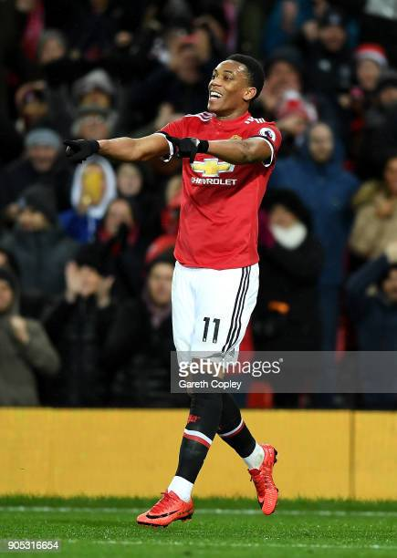 Anthony Martial of Manchester United celebrates scoring his side's second goal during the Premier League match between Manchester United and Stoke...