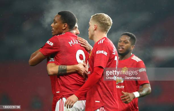 Anthony Martial of Manchester United celebrates scoring his teams fifth goal during the Premier League match between Manchester United and...