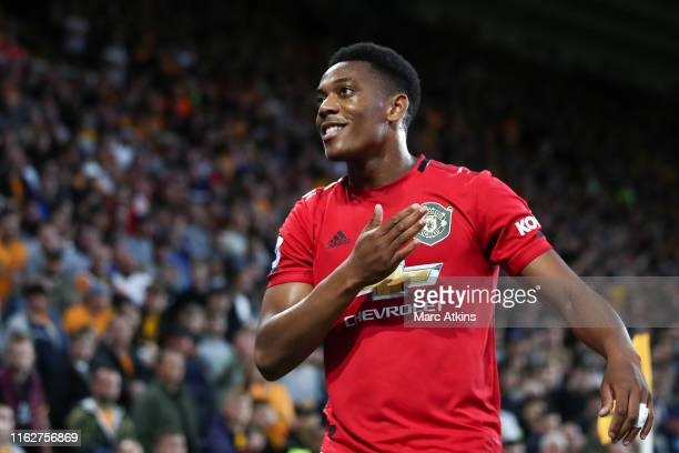 Anthony Martial of Manchester United celebrates scoring the opening goal during the Premier League match between Wolverhampton Wanderers and...