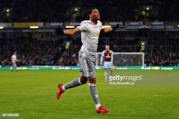 Anthony Martial of Manchester United celebrates scoring the opening goal during the Premier League match between Burnley and Manchester United at...