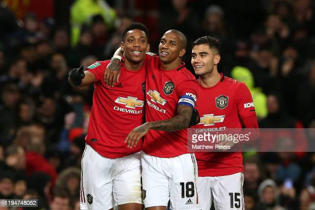 Anthony Martial of Manchester United celebrates scoring the third goal with Ashley Young and Andreas Pereira during the Carabao Cup Quarter Final...