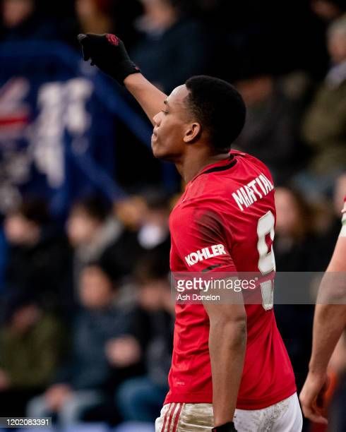 Anthony Martial of Manchester United celebrates scoring their fifth goal during the FA Cup Fourth Round match between Tranmere Rovers and Manchester...