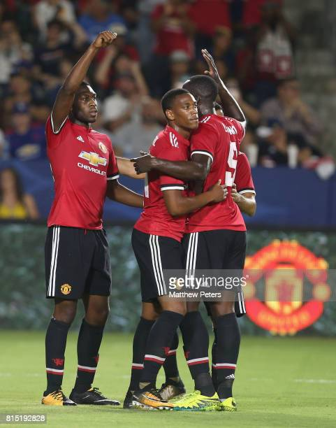 Anthony Martial of Manchester United celebrates scoring their fifth goal during the preseason friendly match between LA Galaxy and Manchester United...