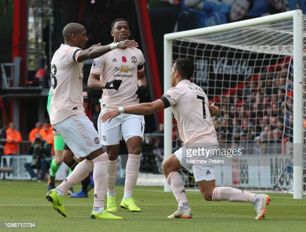Anthony Martial of Manchester United celebrates scoring their first goal during the Premier League match between AFC Bournemouth and Manchester...