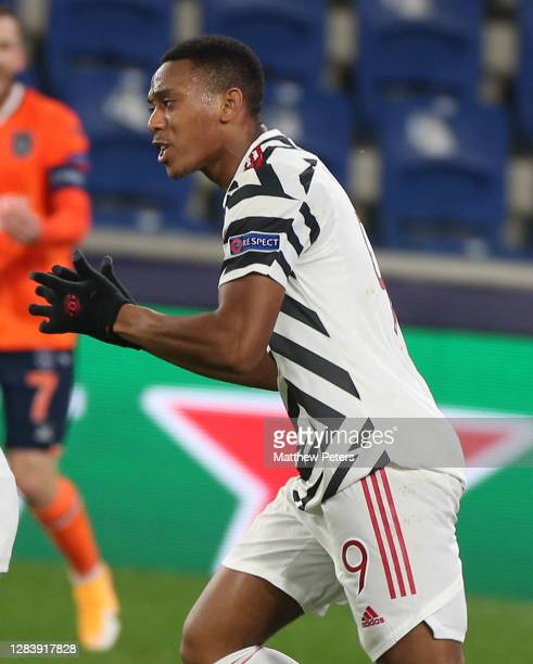 Anthony Martial of Manchester United celebrates scoring their first goal during the UEFA Champions League Group H stage match between Istanbul...
