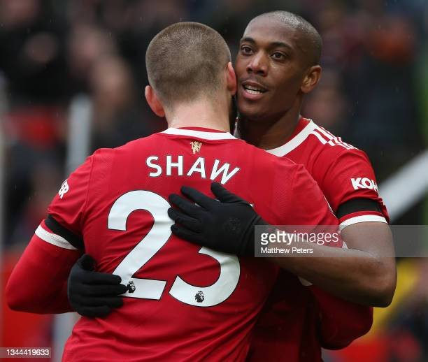 Anthony Martial of Manchester United celebrates scoring their first goal during the Premier League match between Manchester United and Everton at Old...