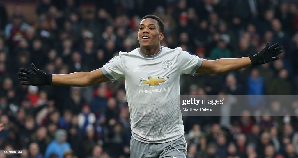 Anthony Martial of Manchester United celebrates scoring their first goal during the Premier League match between Burnley and Manchester United at Turf Moor on January 20, 2018 in Burnley, England.