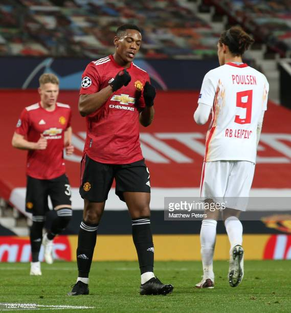Anthony Martial of Manchester United celebrates scoring their fourth goal during the UEFA Champions League Group H stage match between Manchester...