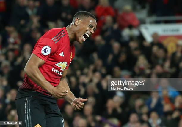 Anthony Martial of Manchester United celebrates scoring their second goal during the Premier League match between Manchester United and Newcastle...