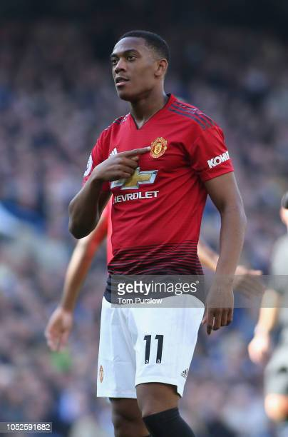 Anthony Martial of Manchester United celebrates scoring their second goal during the Premier League match between Chelsea FC and Manchester United at...