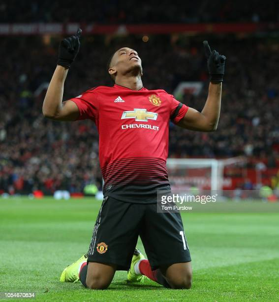 Anthony Martial of Manchester United celebrates scoring their second goal during the Premier League match between Manchester United and Everton FC at...