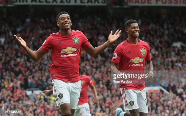 Anthony Martial of Manchester United celebrates scoring their second goal during the Premier League match between Manchester United and Chelsea FC at...