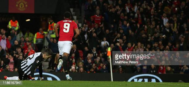 Anthony Martial of Manchester United celebrates scoring their second goal during the UEFA Europa League group L match between Manchester United and...
