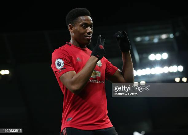 Anthony Martial of Manchester United celebrates scoring their second goal during the Premier League match between Manchester City and Manchester...
