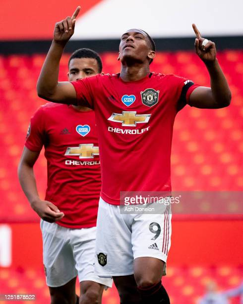 Anthony Martial of Manchester United celebrates scoring their second goal during the Premier League match between Manchester United and Sheffield...