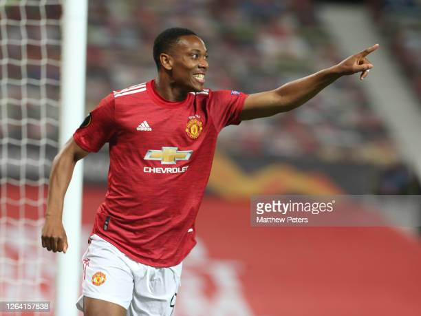 Anthony Martial of Manchester United celebrates scoring their second goal during the UEFA Europa League round of 16 second leg match between...