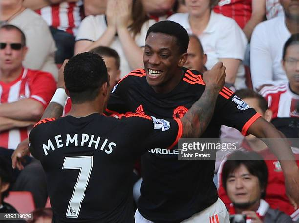Anthony Martial of Manchester United celebrates scoring their second goal during the Barclays Premier League match between Southampton and Manchester...