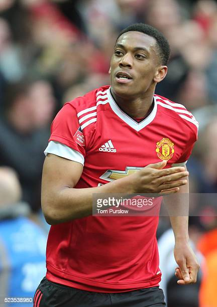 Anthony Martial of Manchester United celebrates scoring their second goal during the Emirates FA Cup Semi Final match between Manchester United and...