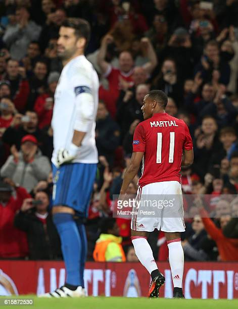 Anthony Martial of Manchester United celebrates scoring their second goal during the UEFA Europa League match between Manchester United FC and...